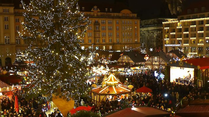 The Christmas Market by Night in Dresden at the Old Market Square